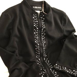 Zippered Bedazzled Cotton Sweater